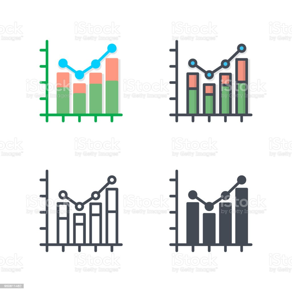 graph chart business icon vector flat colored silhouette line stock