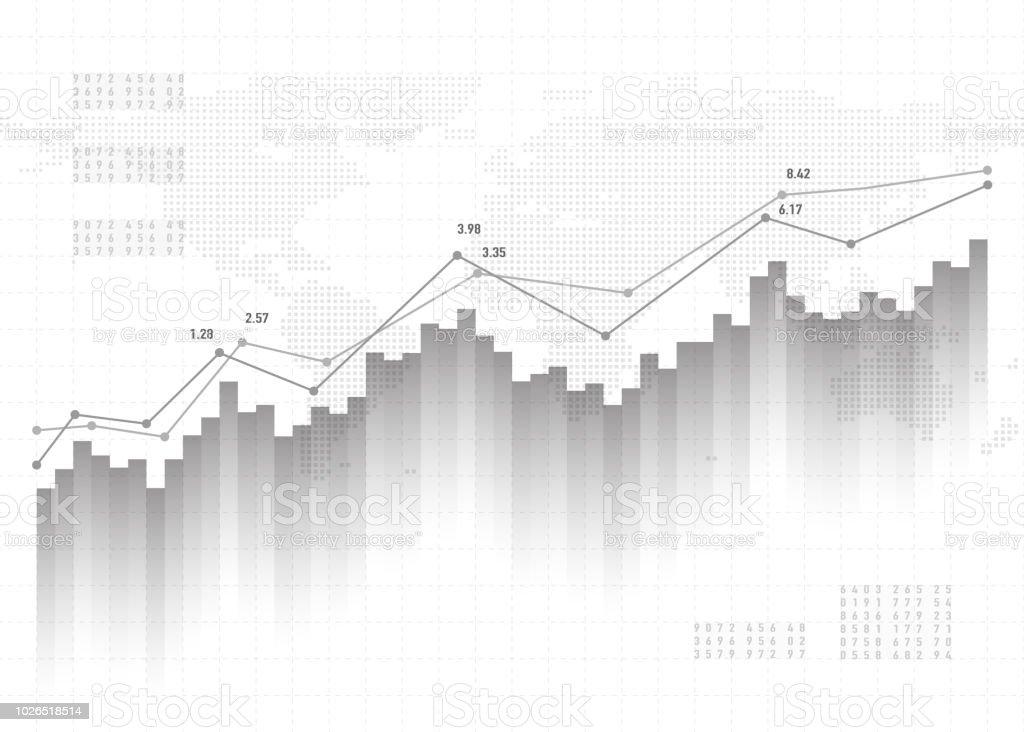Diagrammhintergrund Daten im Diagramm anzeigen. Finanzen-Konzept, graue vektormuster. Berichtsentwurf Statistiken Börse – Vektorgrafik