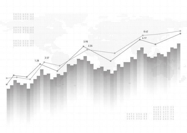 ilustrações, clipart, desenhos animados e ícones de base de dados de gráfico gráfico. padrão de vetor finanças conceito, cinza. projeto de estatísticas do mercado de ações relatório - comercializando