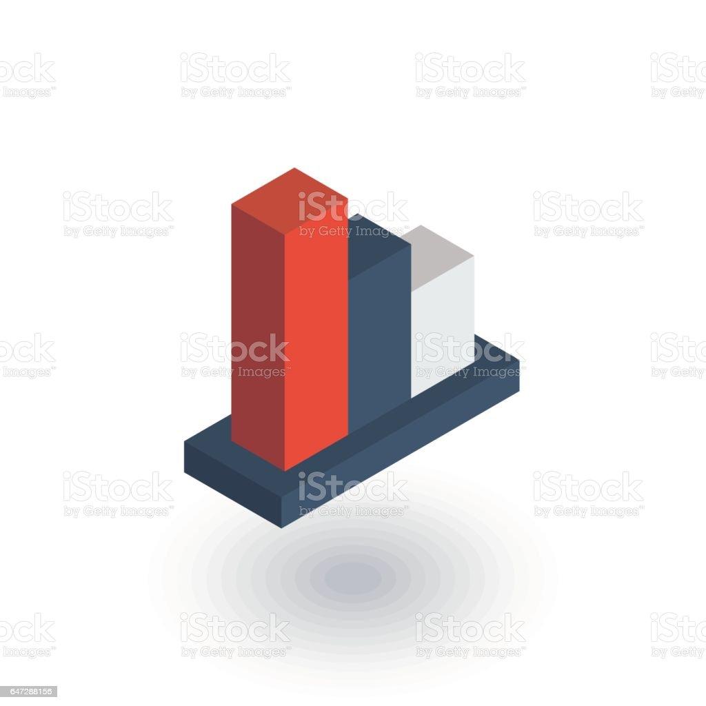 Graph Chart Rückgang, fallen Markt Lager bar isometrische flach-Symbol. 3D Vektor – Vektorgrafik