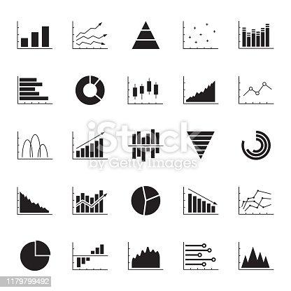 Graph, chart, diagram icon set. Business data design elements for web, report, presentation, finance analysis. Vector illustration.