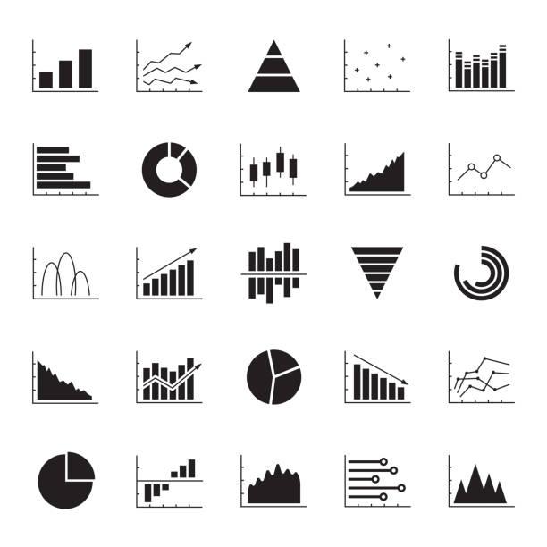 diagramm, diagramm- und diagrammsymbolgesetzt. business data design-elemente für web, bericht, präsentation, finanzanalyse. vektor-illustration. - infografiken stock-grafiken, -clipart, -cartoons und -symbole
