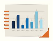 Graph, chart. Infographic elements. Flat design. Simply minimalistic concept. Template.