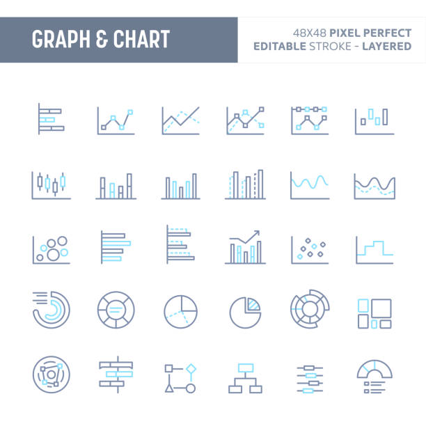 stockillustraties, clipart, cartoons en iconen met grafiek, diagram & grafiek minimale vector icon set (eps 10) - lijngrafiek