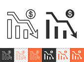 Graph down black linear and silhouette icons. Thin line sign of bankrupt. Arrow below outline pictogram isolated on white transparent background. Vector Icon shape. Graph Down simple symbol close-up