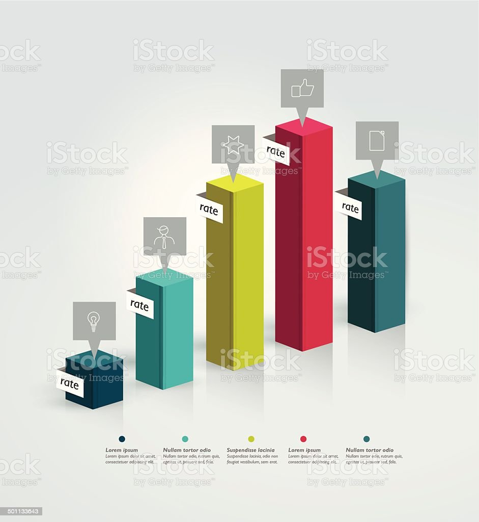 3D graph for infographic. vector art illustration