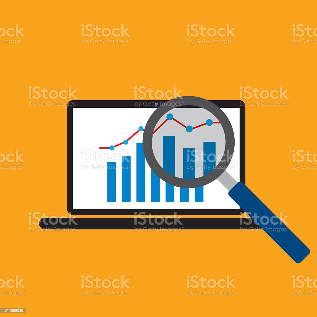 Graph growth trend from laptop screen vector art illustration