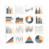 Graph icon set. Illustrator 10 vector image.