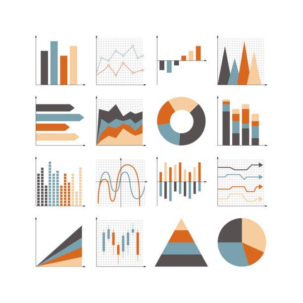 Graph icon set Graph icon set. Illustrator 10 vector image. bar graph stock illustrations