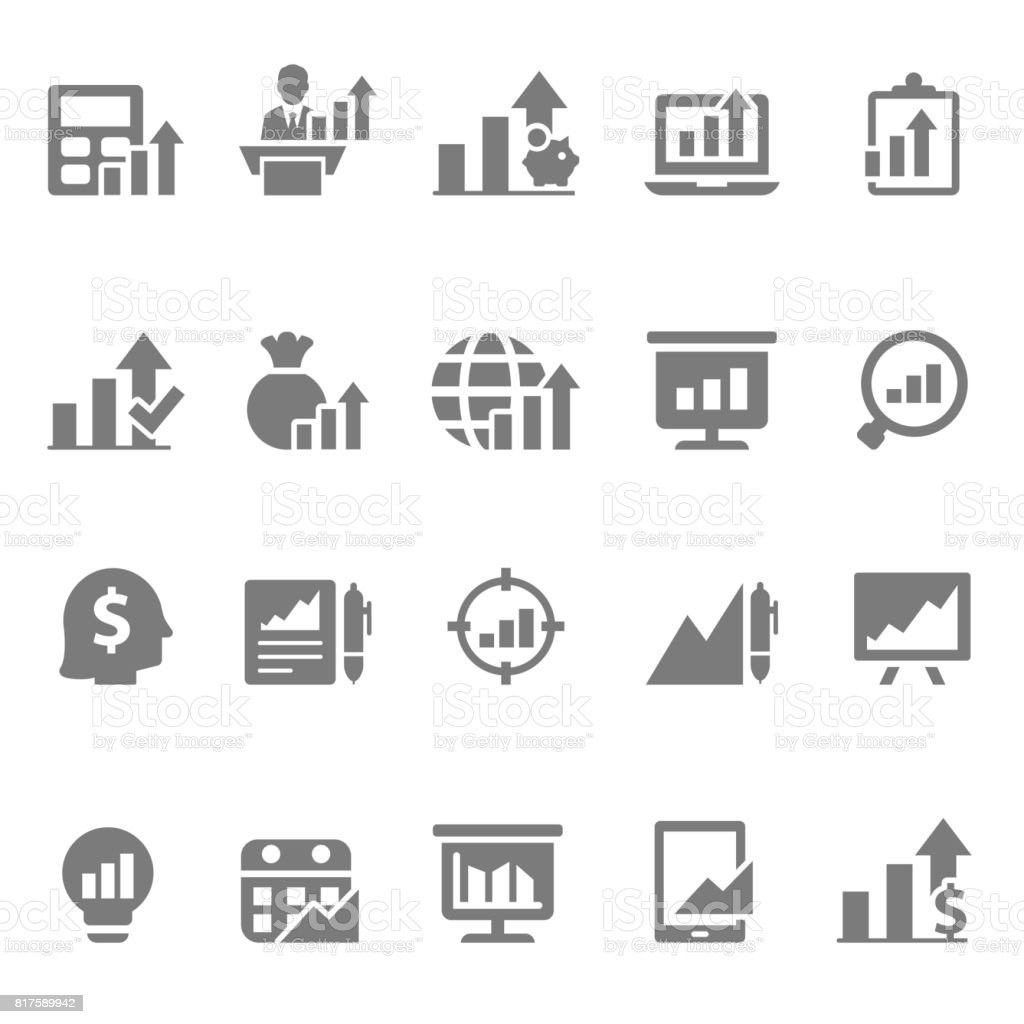 Graph icon set vector art illustration