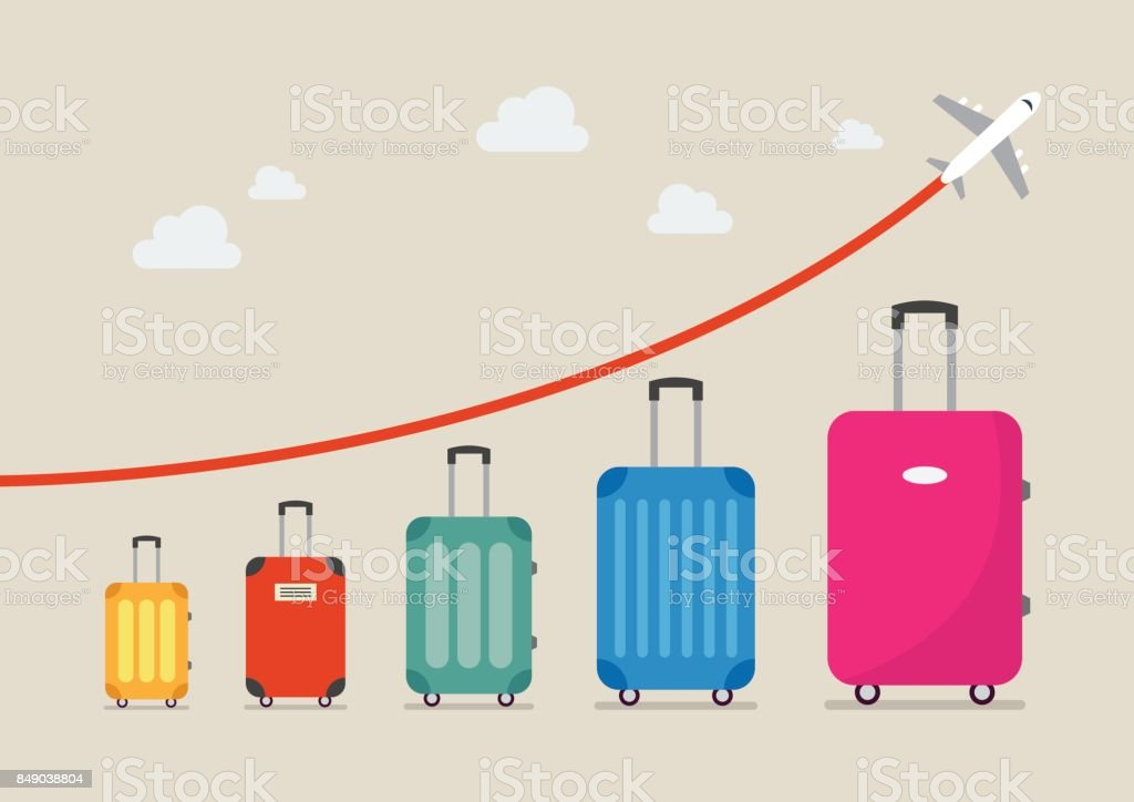Graph increase in the number of tourists traveling vector art illustration
