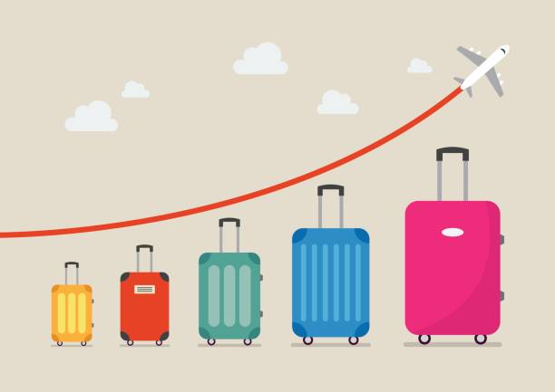 graph increase in the number of tourists traveling - luggage stock illustrations