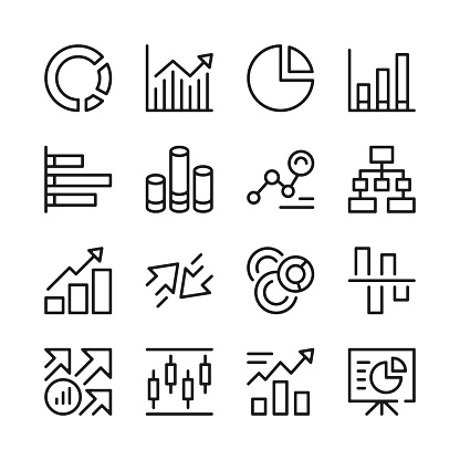Graph line icons set. Chart, data statistics, high and low, info presentation, increase and decrease symbols, infographic concepts. Modern graphic design. Thin line concepts. Simple linear outline elements collection. Vector line icons