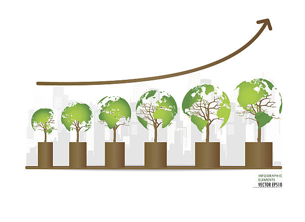 Graph of growing sustainable environment with business. Vector illustration. vector art illustration