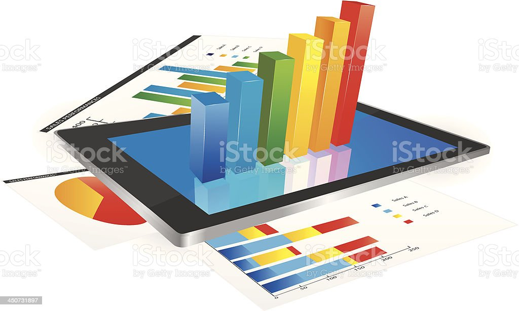 3D graph on tablet screen and statistic charts vector art illustration