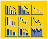 Graph vector illustration set. Line graph. stock. Price. Down chart. Bar graph.