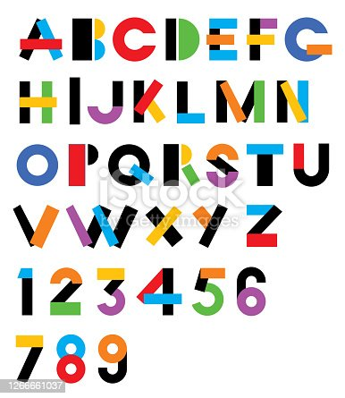 Vector illustration of a colorful graphic alphabet.