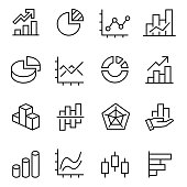 graphic and statistics icons set, collection of simple linear web icons volumetric graphs, linear, candlesticks, combined, bar graphs, pie charts, etc, editable vector stroke.