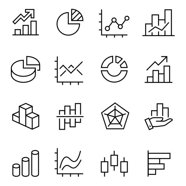 graphic and statistics icons set, editable vector stroke graphic and statistics icons set, collection of simple linear web icons volumetric graphs, linear, candlesticks, combined, bar graphs, pie charts, etc, editable vector stroke. stock market stock illustrations