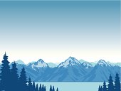 Mountains capped with snow and tall fir trees beside a lake.  Art on easily edited layers. Download includes a large high-res jpeg.