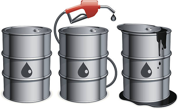 Graphic art depiction of 3 oil barrels and dripping nozzle Three metal barrels with gas pump and spilled oil. File includes additional formats(AI, PDF, SVG).  oil drum stock illustrations
