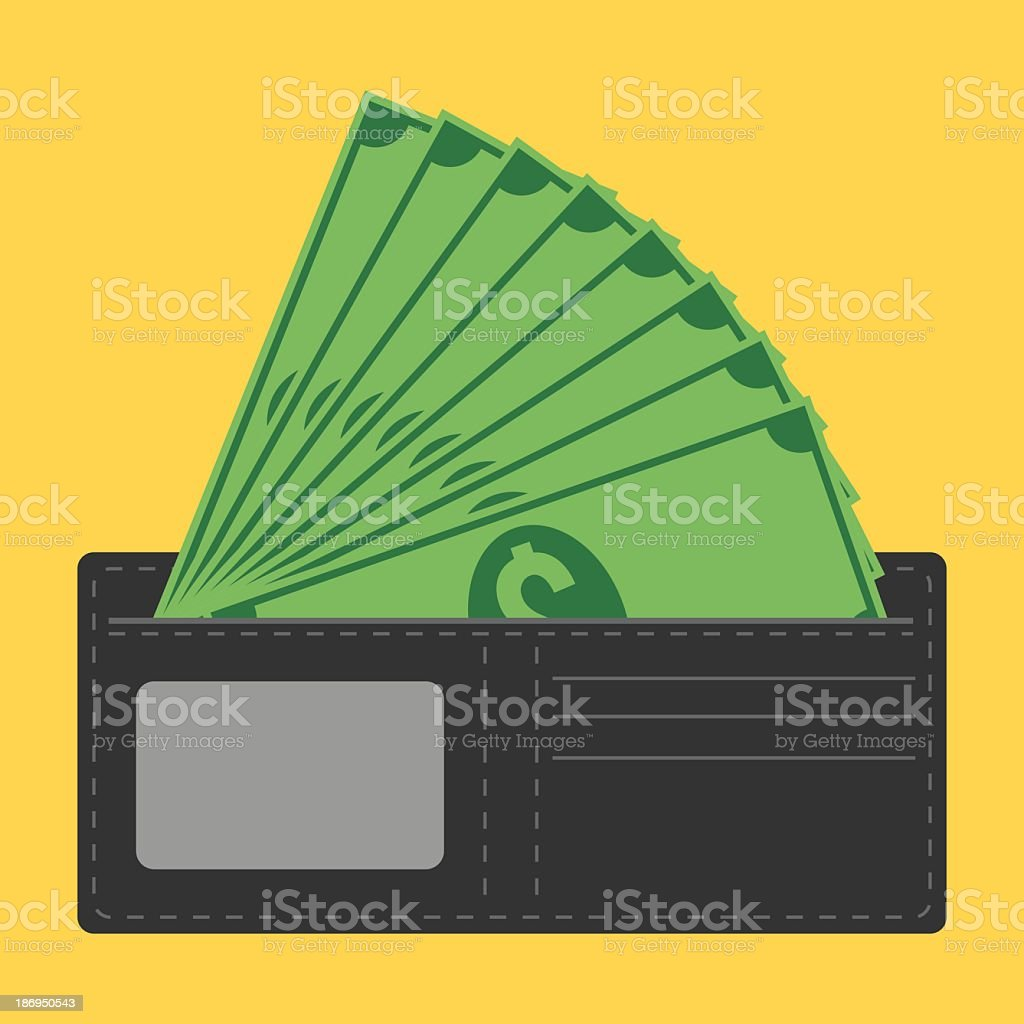 Graphic art of an open black wallet with dollars fanning out vector art illustration