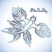 Graphic blue sea slug