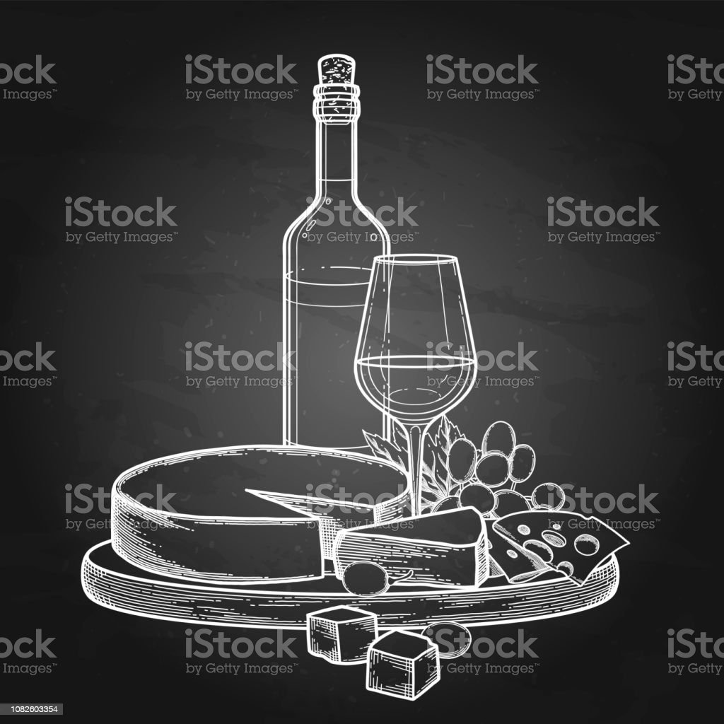 Graphic bottle and glass of wine with camembert cheese and grapes - Векторная графика Алкоголь - напиток роялти-фри