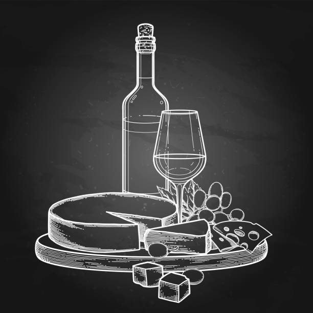 ilustrações de stock, clip art, desenhos animados e ícones de graphic bottle and glass of wine with camembert cheese and grapes - cheese