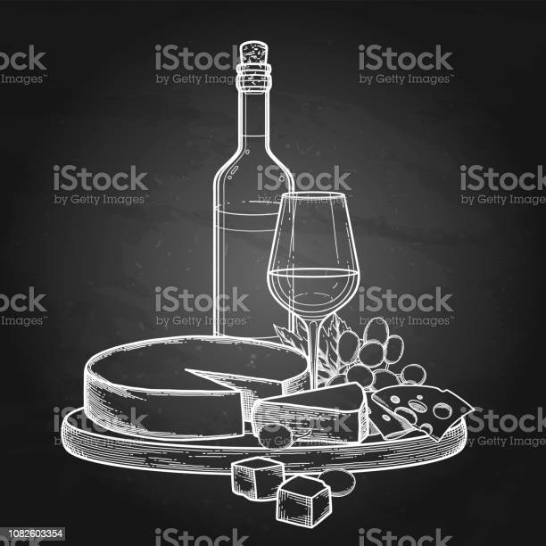 Graphic Bottle And Glass Of Wine With Camembert Cheese And Grapes — стоковая векторная графика и другие изображения на тему Алкоголь - напиток