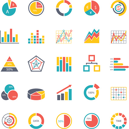 Vector set of chart and diagram graphics