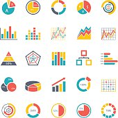 Graphic business charts - Color Icons - Illustration
