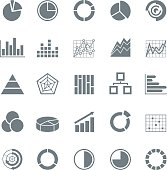 Graphic business charts -Monochrome Icons - Illustration