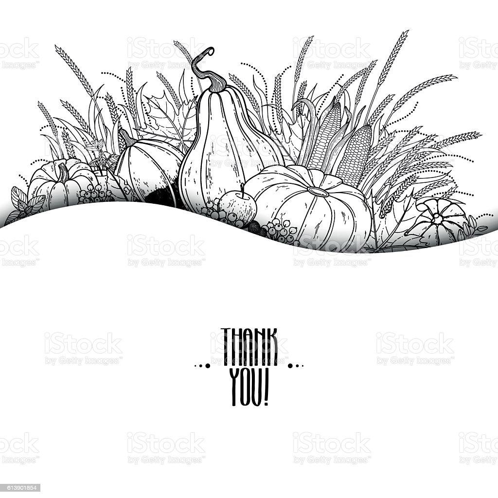 Graphic card thanksgiving vector art illustration