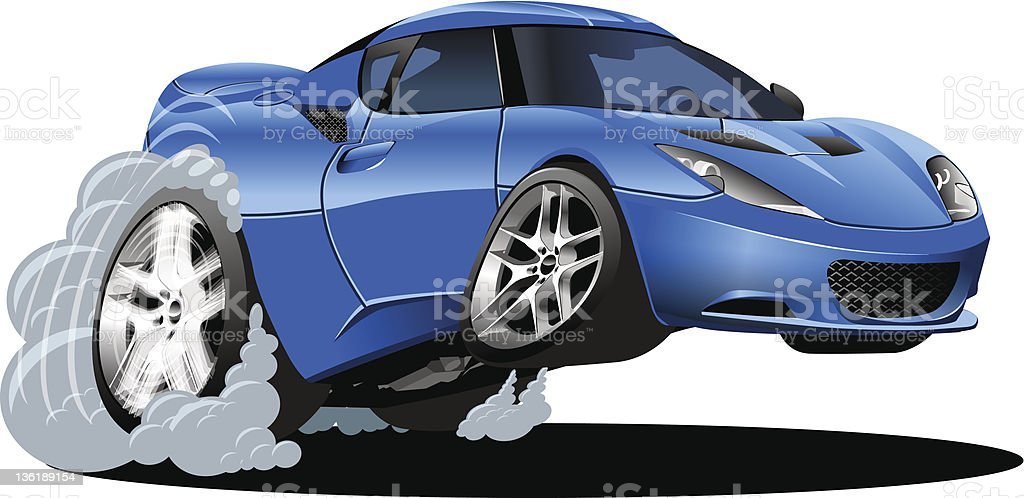 Graphic cartoon of a modern blue sports car in motion vector art illustration