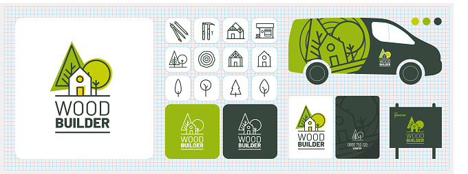 Graphic charter, visual identity, logo, advertising, business card, wood-frame home builder, carpenter, carpenter, renovation, extension, wood exterior landscaping