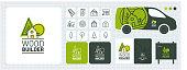 éléments logo et papeterie pour entreprise de construction bois