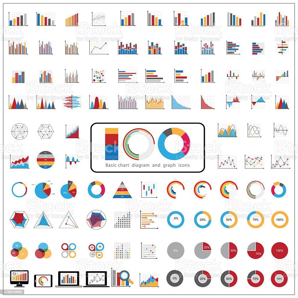 Graphic charts diagrams and business graphs icons set. vector art illustration