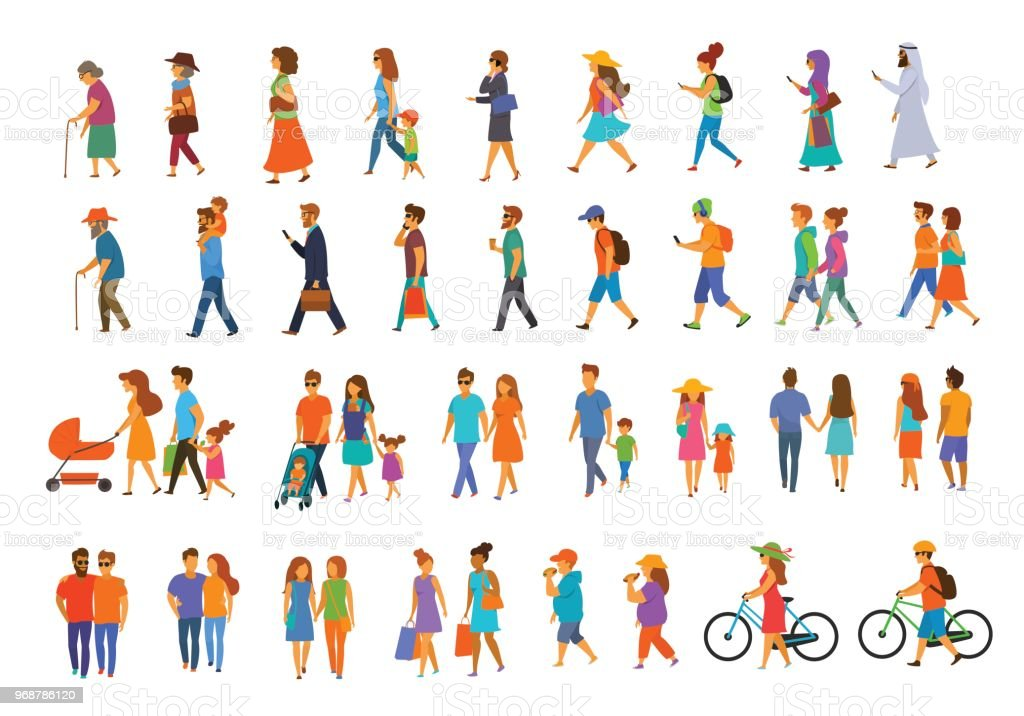 graphic collection of people walking royalty-free graphic collection of people walking stock illustration - download image now