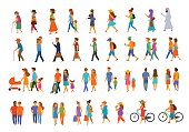 graphic collection of people walking.family couples,parents, man and woman different age generation walk with bikes,smartphones, coffee,eat,texting,talking, side back and front views isolated vector illustration scene set