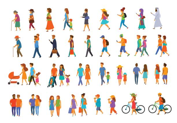 graphic collection of people walking - в пути stock illustrations
