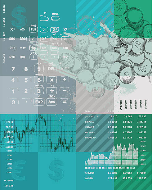 Graphic color art of finance symbols in blues and greens Finance theme background design - vector illustration budget backgrounds stock illustrations
