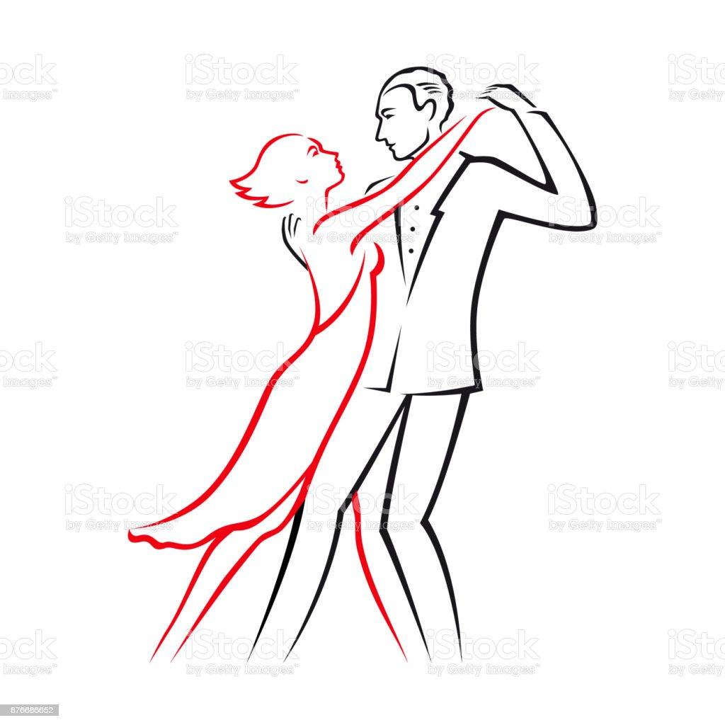 Graphic color linear drawing or icon where a passionate couple in love cartoon man