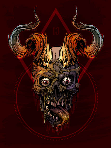 Graphic colorful human skull with bull horns Detailed graphic realistic horrible colorful black and white human skull with big sharp bull horns or antlers. Isolated on red background with symbols. Vector icon. stuffed stock illustrations
