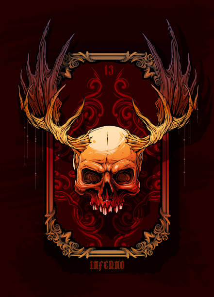 Graphic colorful human skull with moose horns Detailed graphic realistic horrible colorful human skull with big moose horns or antlers. On dark background with hunting trophy frame. Vector icon. stuffed stock illustrations