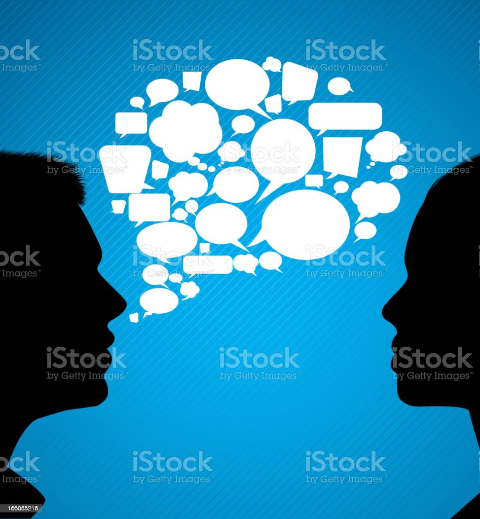 Graphic communication speech bubble between two people royalty-free stock vector art