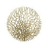 Graphic coral circle painted with gold acrylic texture. Tattoo art or t-shirt design isolated on white background