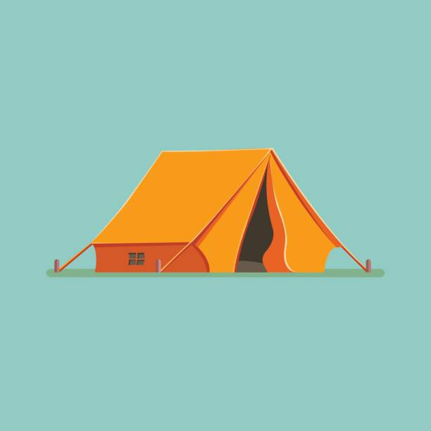 graphic decorative tourist cartoon tent isolated. camping in nature in an orange hut. vector flat illustration, icon - burma home do stock illustrations