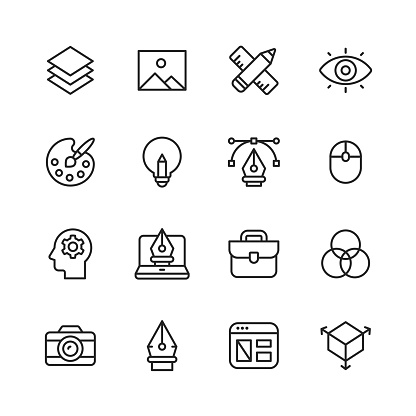 Graphic Design and Creativity Line Icons. Editable Stroke. Pixel Perfect. For Mobile and Web. Contains such icons as Graphic Design, Art Tools, Image, Image Layer, Pen, Computer Mouse, Creativity, Colour Palette, Layout, Photography.