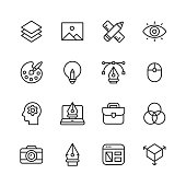 16 Graphic Design and Creativity Outline Icons.